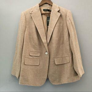 Ralph Lauren Tan Plaid Blazer Jacket 14w NWT